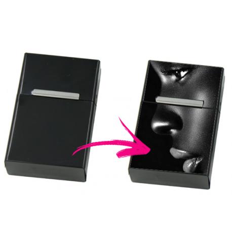 Etui à cigarettes personnalisable noir - Cache paquet en métal
