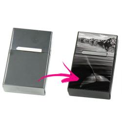Etui à cigarettes personnalisable gris - Cache paquet en métal