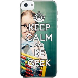 Coque Keep Calm and Be Geek personnalisable pour iPhone 5S